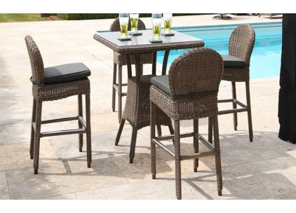 Bridgman Bali Bar Table With 4 Ohio Bar Stools