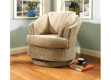 Desser Corsica Cane Rattan Wicker Swivel Chair