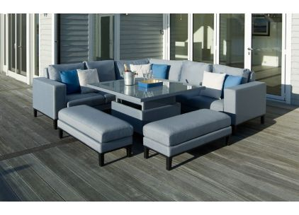 Bramblecrest Indigo Modular Sofa With Square Adjustable Casual Dining Table & 2 Benches