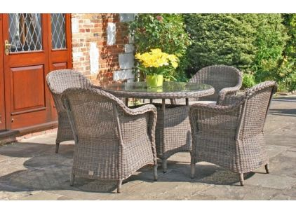 Bridgman 110cm Marlow Round Table with 4 Dining Armchairs