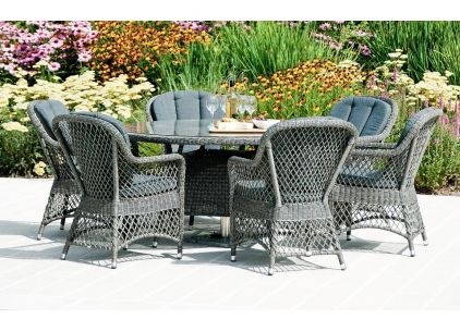 Alexander Rose Monte Carlo Open Weave Round 6 Seater Dining Set