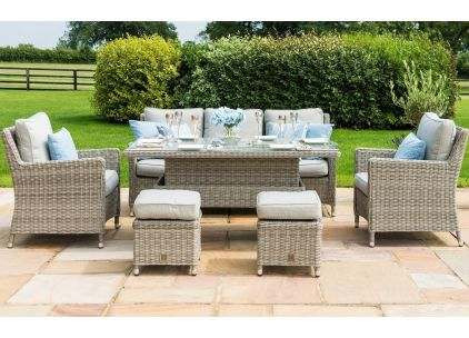 Maze Rattan Oxford Sofa Dining Set With Adjustable Table