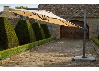 Bramblecrest Chichester 3M Round Crank Handle Parasol Including Granite Base And Cover
