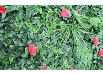 Wonder-Wal Artificial Wall Shutter Grass With Hibiscus
