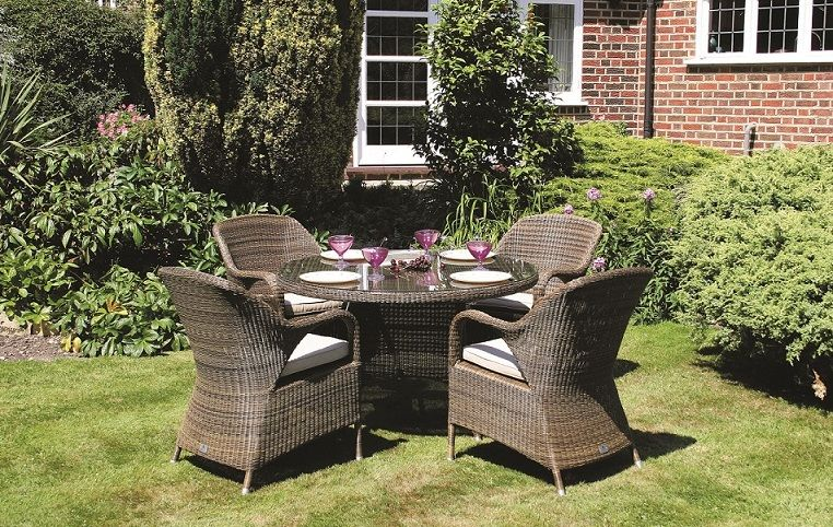 Bridgman 120cm Sussex Round Table and 4 Dining Armchairs