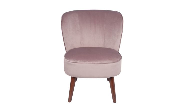 Pacific Lifestyle Blush Pink Velvet Chair with Walnut Effect Legs
