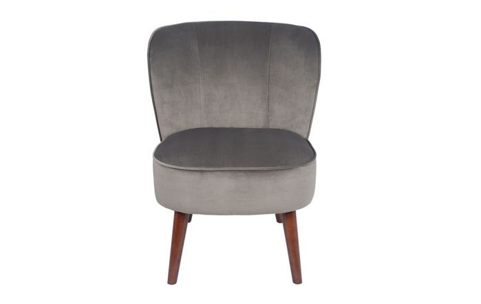 Pacific Lifestyle Dove Grey Velvet Chair with Walnut Effect Legs