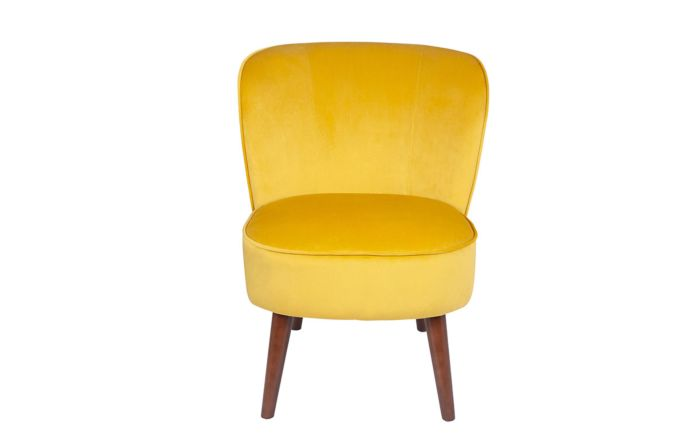 Pacific Lifestyle Ochre Velvet Chair with Walnut Effect Legs