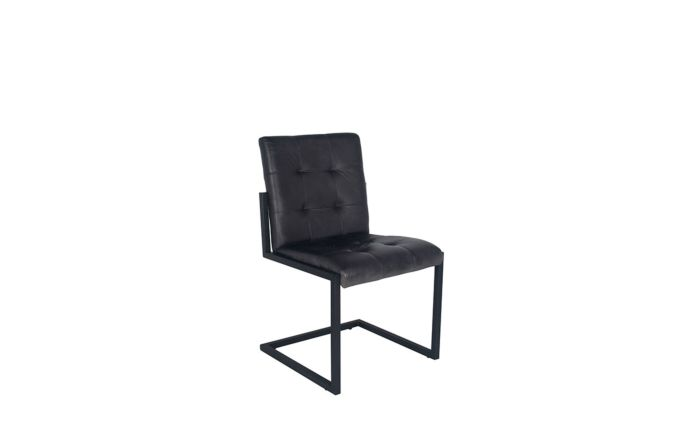 Pacific Lifestyle Steel Grey Leather & Iron Buttoned Chair