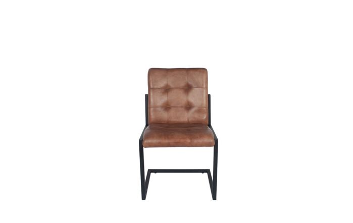 Pacific Lifestyle Vintage Brown Leather & Iron Buttoned Chair