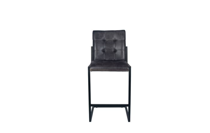 Pacific Lifestyle Steel Grey Leather & Iron Buttoned Bar Stool