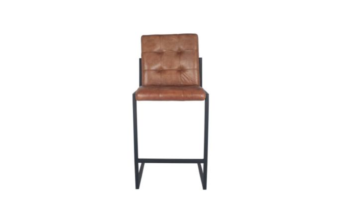 Pacific Lifestyle Vintage Brown Leather & Iron Chair