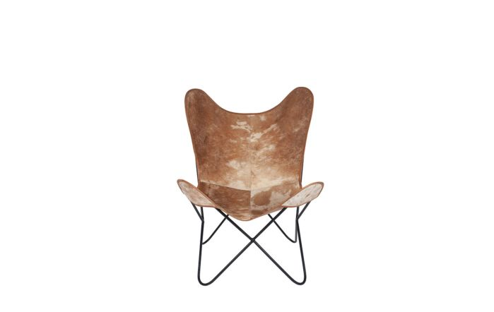 Pacific Lifestyle Hide Leather & Iron Butterfly Chair
