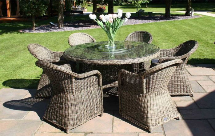 Bridgman Mayfair 150cm Round Dining Table With 6 Dining Armchairs