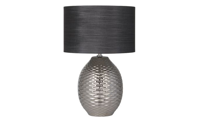Pacific Lifestyle Chrome Textured Ceramic Table Lamp