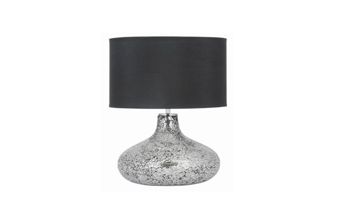 Pacific Lifestyle Silver and Black Mosaic Mirror Table Lamp