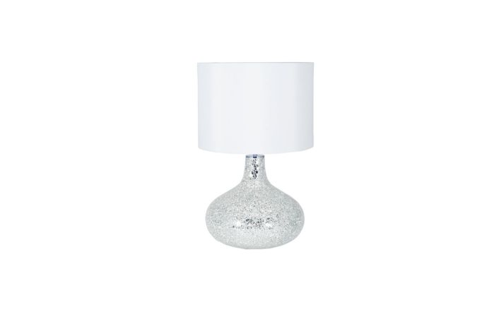 Pacific Lifestyle Silver and White Mosaic Mirror Table Lamp