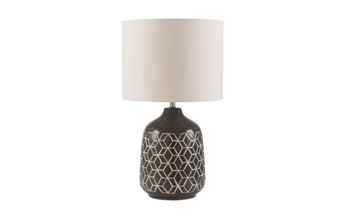 Pacific Lifestyle Dark Grey Geo Ceramic Table Lamp