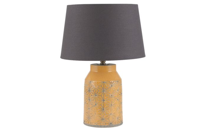 Pacific Lifestyle Mustard Etch Detail Stoneware Table Lamp