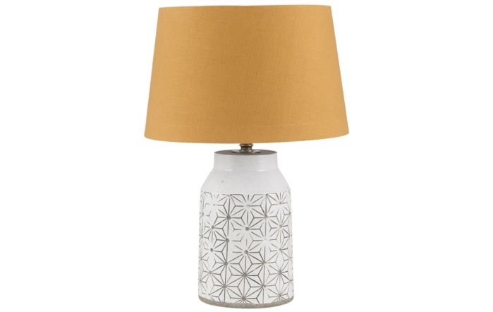 Pacific Lifestyle White Etch Detail Stoneware Table Lamp