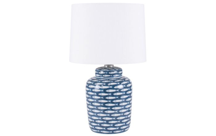 Pacific Lifestyle Blue and White Fish Detail Ceramic Table Lamp