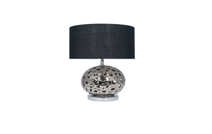 Pacific Lifestyle Metallic Silver Ceramic Cut Out Table Lamp
