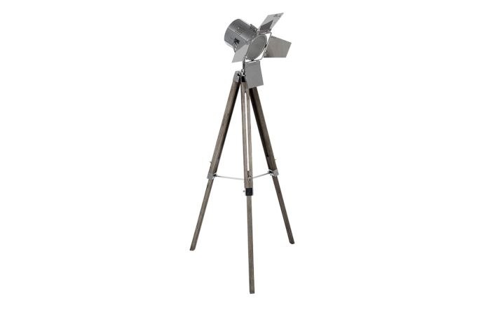 Pacific Lifestyle Grey Wash Wood and Silver Metal Film Tripod Floor Lamp