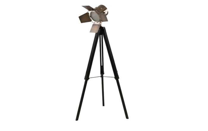 Pacific Lifestyle Black Wood and Antique Brass Metal Tripod Floor Lamp