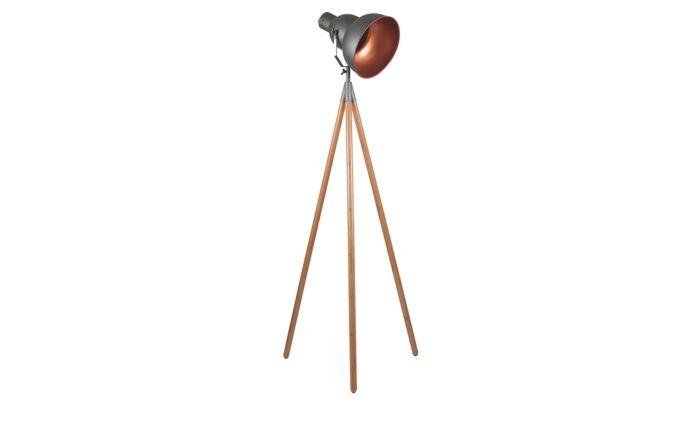 Pacific Lifestyle Grey Metal and Natural Wood Tripod Film Floor Lamp