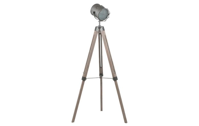 Pacific Lifestyle Grey Metal and Antique Wood Tripod Marine Floor Lamp