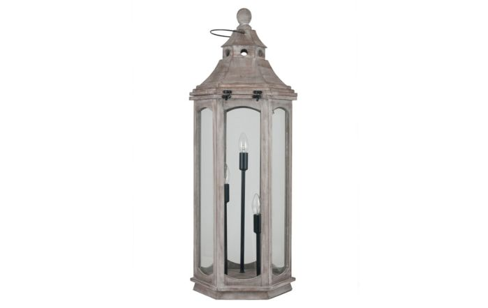 Pacific Lifestyle Grey Antique Wood Lantern Floor Lamp