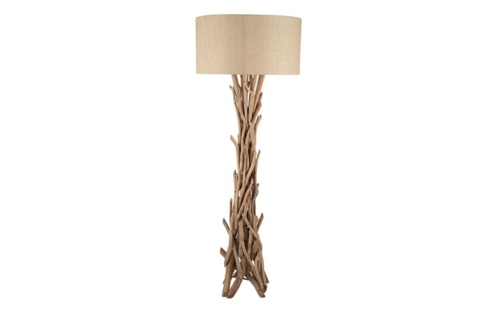 Pacific Lifestyle Derna Drift Wood Floor Lamp with Natural Jute Shade