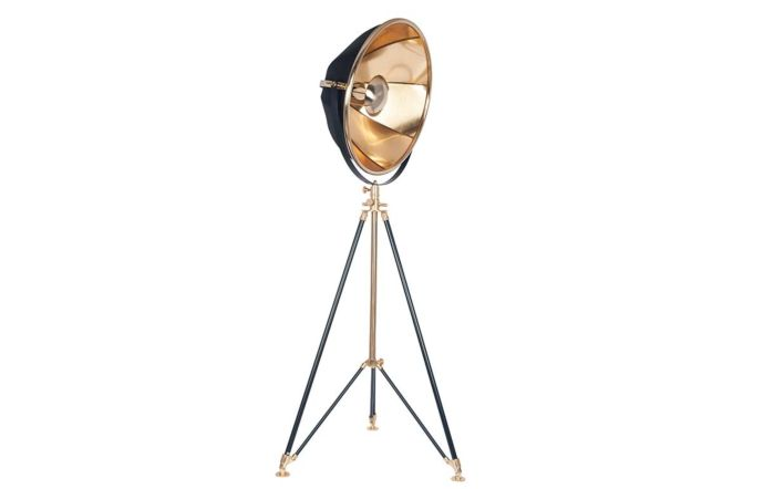 Pacific Lifestyle Elstree Black and Gold Metal Tripod Floor Lamp