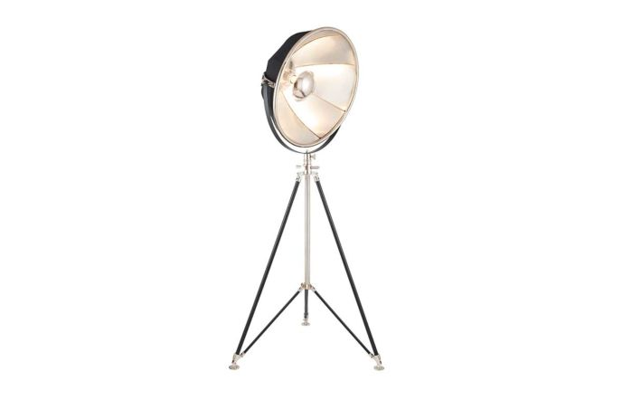 Pacific Lifestyle Elstree Black and Silver Metal Tripod Floor Lamp