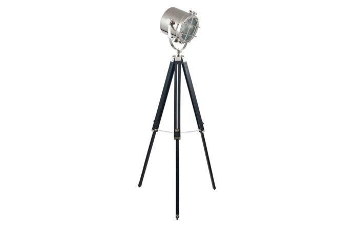 Pacific Lifestyle Beckett Black and Silver Tripod Marine Floor Lamp