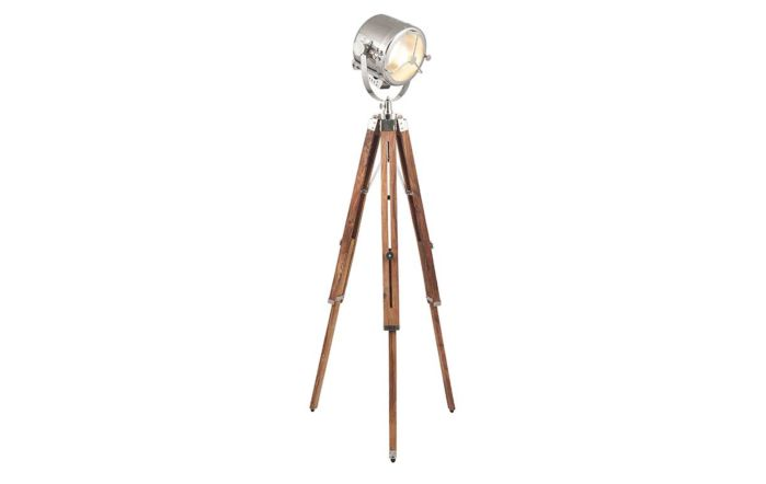 Pacific Lifestyle Beckett Brown and Silver Tripod Marine Floor Lamp