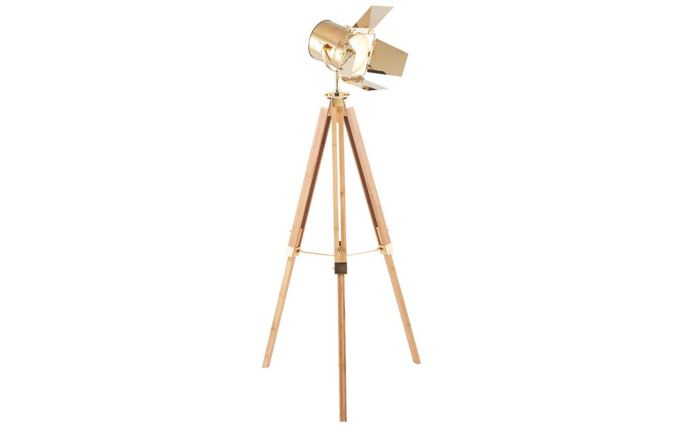 Pacific Lifestyle Hereford Gold and Natural Tripod Floor Lamp