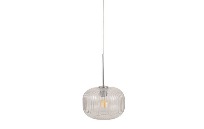 Pacific Lifestyle Bella Clear Glass and Silver Metal Ribbed Squoval Pendant