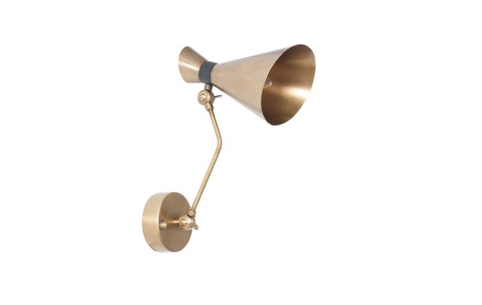 Pacific Lifestyle Wendell Antique Brass Metal Conical Wall Light