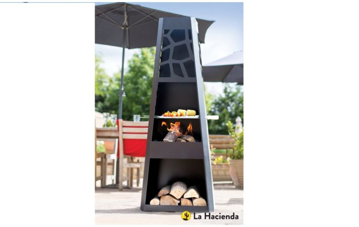 La Hacienda Savannah Contemporary Steel Chimenea With Grill