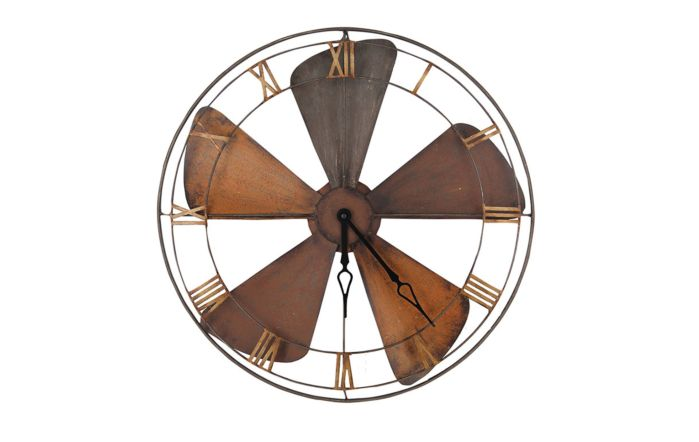 Pacific Lifestyle Fan Design Round Metal Wall Clock