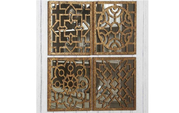 Pacific Lifestyle Set of 4 Square Mirrored Wall Art