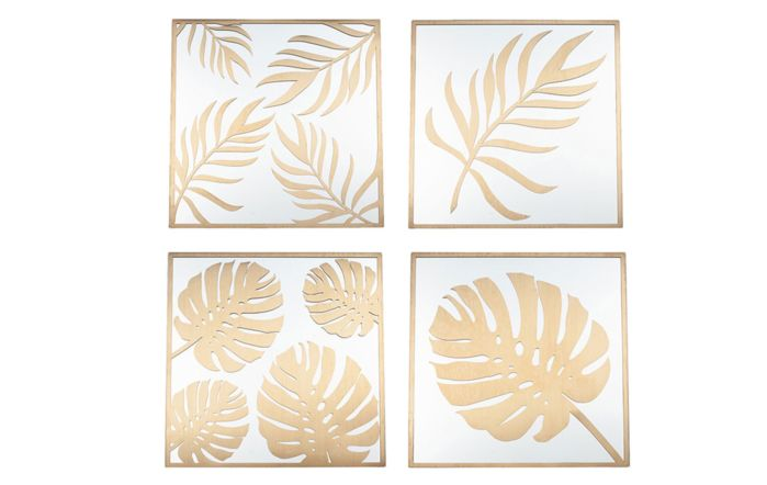 Pacific Lifestyle Set of 4 Gold Metal & Glass Leaf Design Wall Art