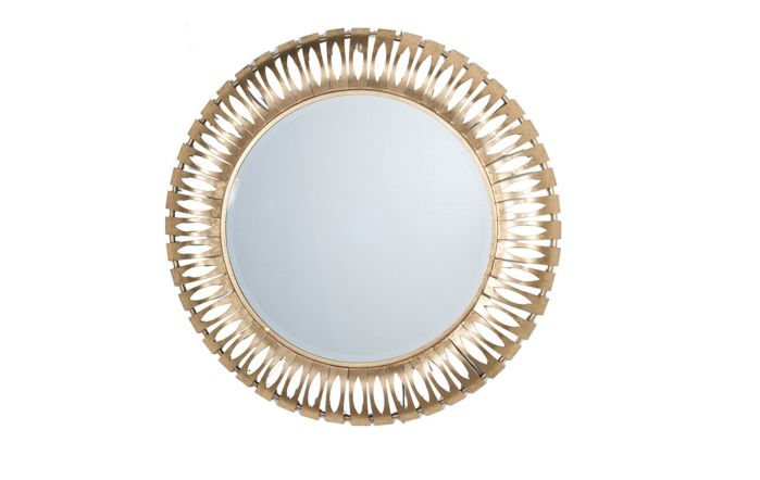 Pacific Lifestyle Antique Gold Round Metal Wall Mirror