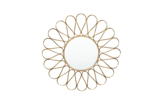 Pacific Lifestyle Antique Gold Metal Petal Design Round Wall Mirror