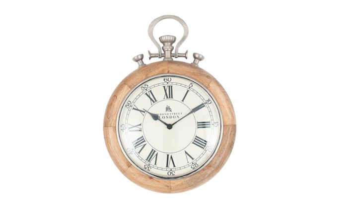 Pacific Lifestyle Nickel & Wood Stopwatch Wall Clock
