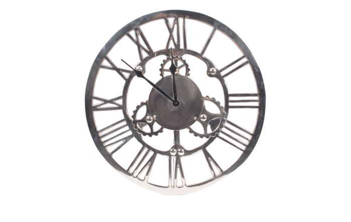 Pacific Lifestyle Shiny Nickel Cog Design Round Wall Clock Small