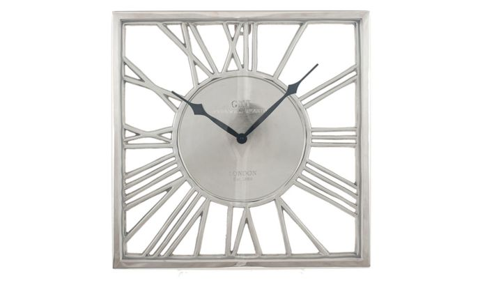 Pacific Lifestyle Shiny Nickel & Glass Square Wall Clock