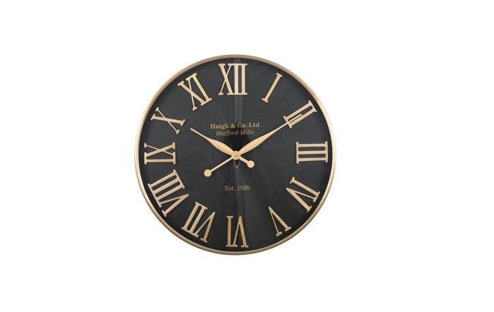 Pacific Lifestyle Antique Gold & Black Metal Round Wall Clock
