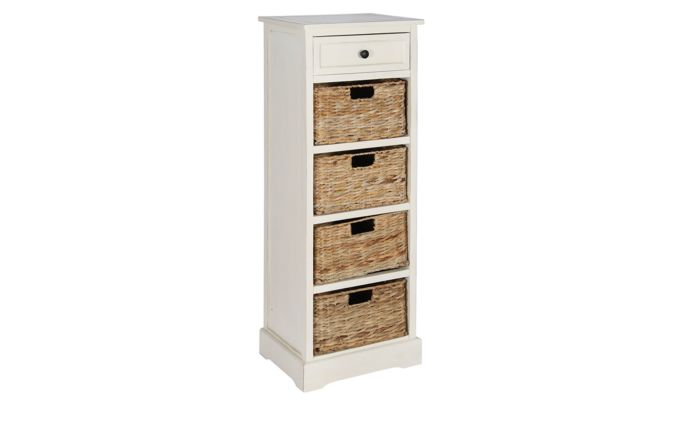 Pacific Lifestyle Cream Wood 1 Drawer 4 Basket Tall Unit